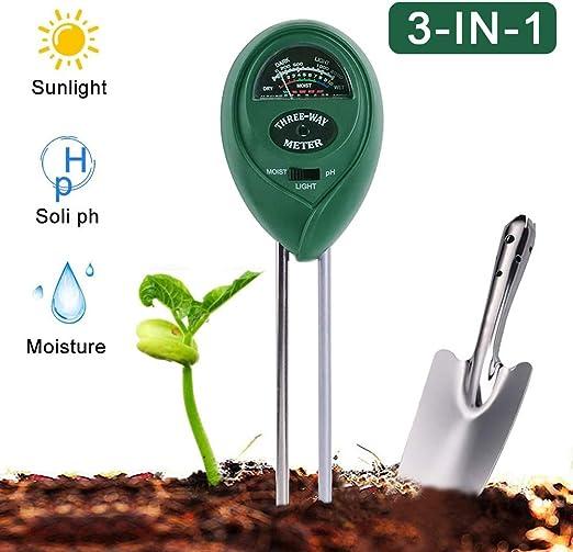 PECHTY Probador de Suelo, 3 en 1 Medidor de Humedad Suelo Teste de luz y pH probador de Jardín Granja Crecimiento Vegetal, Cuidado del Césped(No Necesita batería): Amazon.es: Jardín