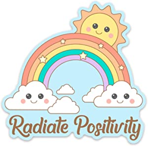 "Stickeroonie Cute Rainbow Sticker, 4"" x 4"" Rainbow Vinyl Stickers, Inspirational Stickers for Water Bottle Laptop, Radiate Positivity Stickers, Skateboard Stickers, Car Stickers, Phone Stickers"