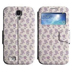 Be-Star Diseño Impreso Colorido Slim Casa Carcasa Funda Case PU Cuero - Stand Function para Samsung Galaxy S4 IV / i9500 / i9505 / i9505G / SGH-i337 ( Violet Roses )