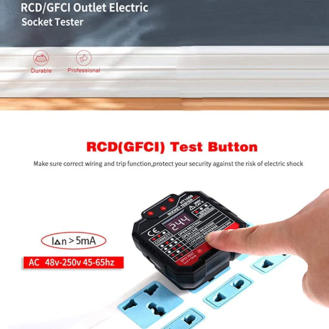 RCD Tester UNISOPH Socket Tester Power Automatic Electric Circuit Polarity Voltage Detector Wall Plug Breaker Finder Electrical Outlet Tester