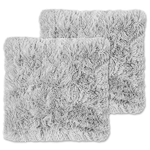 Silver Fur (Sweet Home Collection 2Pk Plush Pillow Faux Fur - Soft and Comfy Throw Pillow - Silver)