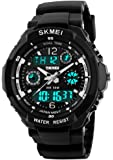 Fanmis Unisex Sports Watch Multifunction Green Led Light Digital Waterproof S - Shock Wristwatch Black