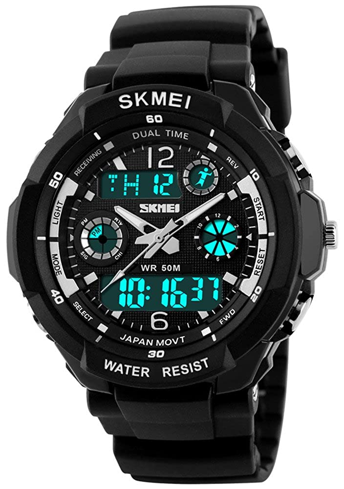 Fanmis Unisex Sports Watches Multifunction Dual Time 12 24H Led Backlight 50M Waterproof Stopwatch Alarm Military Watch Black