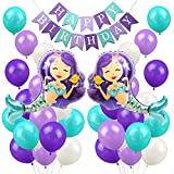 LUCK COLLECTION Mermaid Balloons Party Decorations Mermaid Happy Birthday Banner Girls Birthday Party Baby Shower Party Supplies