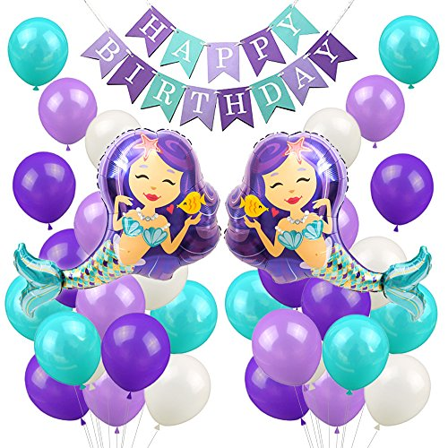 LUCK COLLECTION Mermaid Balloons Party Decorations Mermaid Happy Birthday Banner Girls Birthday Party Baby Shower Party Supplies by LUCK COLLECTION