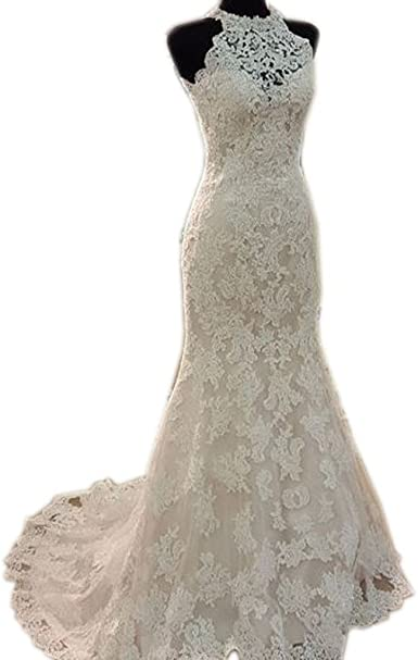 Womens Gorgeous Lace Mermaid Wedding Dresses for Bride
