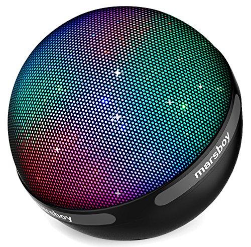 Marsboy Mode-Design Tragbarer Drahtloser Bluetooth 4.1 Lautsprecher mit TWS Funktion,7 Farbwechsel LED & 12-15 Stunden Wiedergabedauer für Handy, Laptop, PDA (Schwarz)