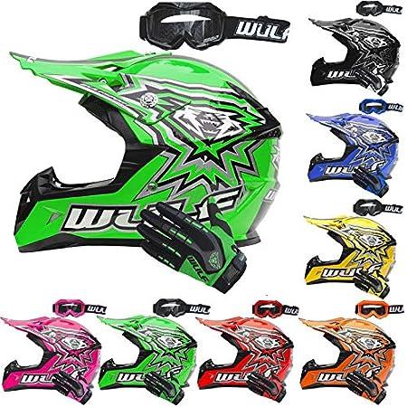 Wulfsport Flite Children Kids Motocross HELMET + WULF GOGGLES & GLOVES Kids Dirt Bike ATV Helmet - Yellow XL Wulfsports