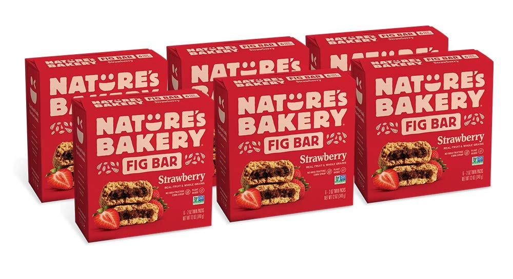 Nature's Bakery Whole Wheat Fig Bars, Strawberry, Real Fruit, Vegan, Non-GMO, Snack bar, 6 boxes with 6 twin packs (36 twin packs)