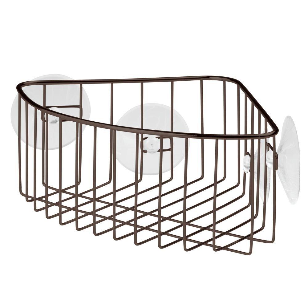 InterDesign Corner Storage Basket with Suction for Bathroom, Shower – Bronze Shower – Bronze 59121