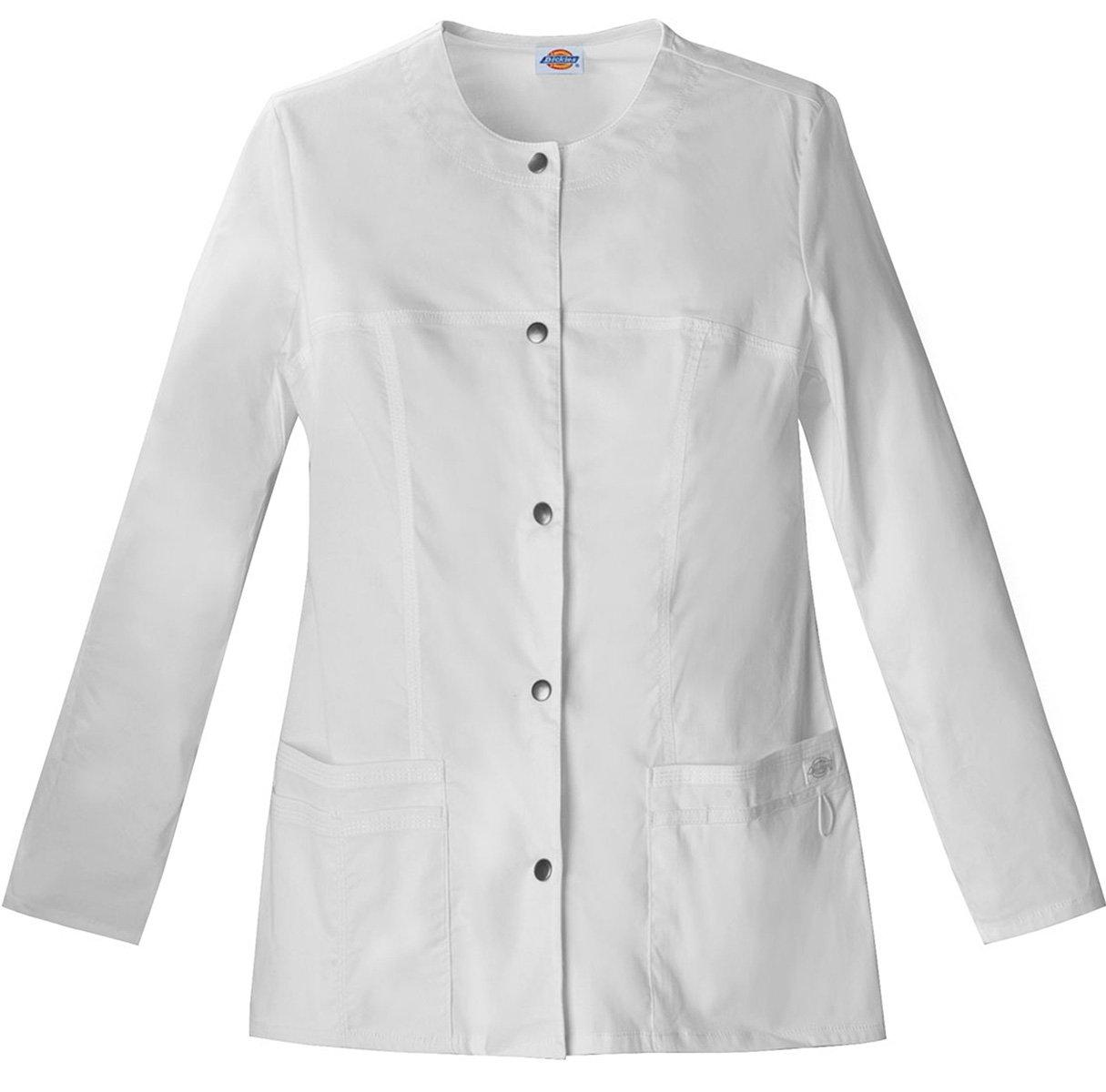 Dickies Women's Snap Front Warm-Up Jacket_White_Medium,82409