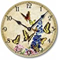Item C9010 Shabby Victorian Cottage Style 10.5 Inch Butterflies Clock