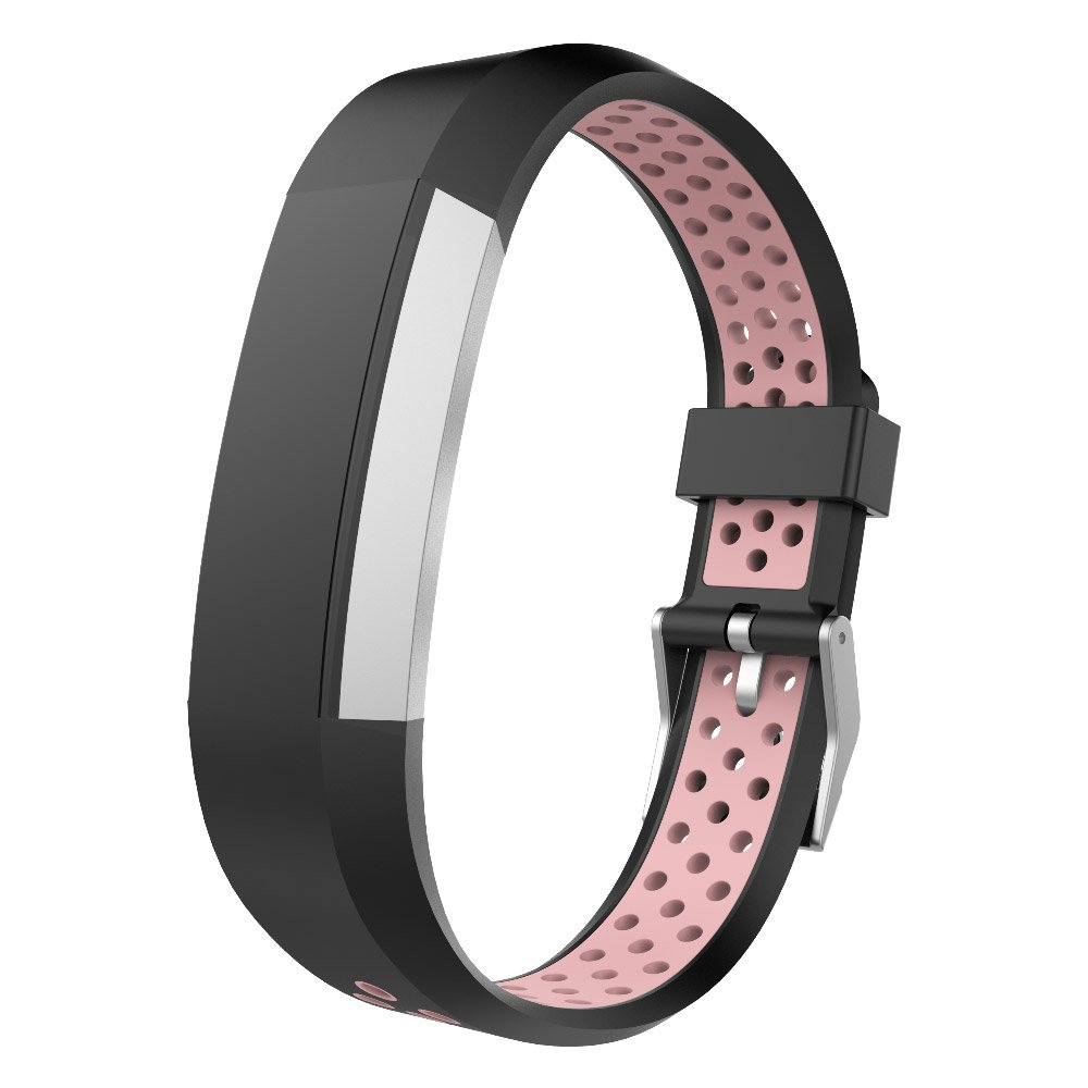 Fitbit Alta Bands, UMTELE Two-Tone Perforated Replacement Wristband with Metal Buckle Clasp for Fitbit Alta/Alta HR, Fitbit Ace, Black/Blue