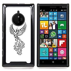 Stuss Case / Funda Carcasa protectora - Pájaro de Fuego Decal Minimalista Blanca - Nokia Lumia 830
