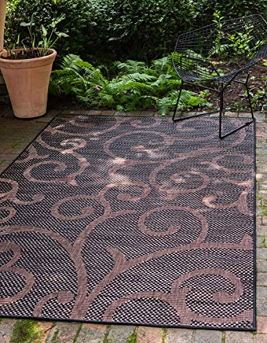 Unique Loom Outdoor Botanical Collection Abstract Swirls Transitional Indoor and Outdoor Flatweave Chocolate Brown  Area Rug (7' 0 x 10' 0) (Square Rug 7 Outdoor)