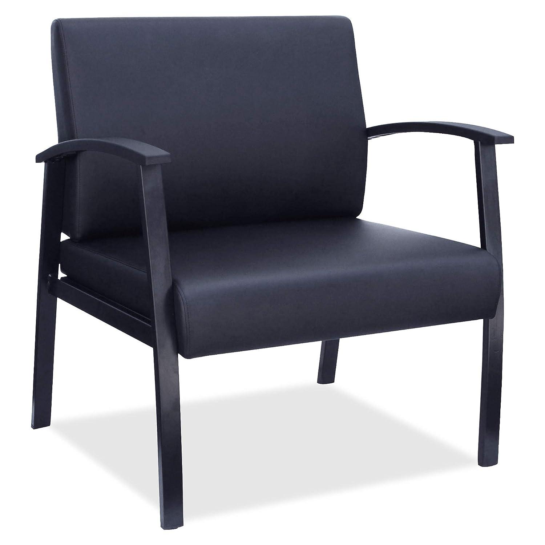 Lorell LLR68557 Big & Tall Black Leather Guest Chair
