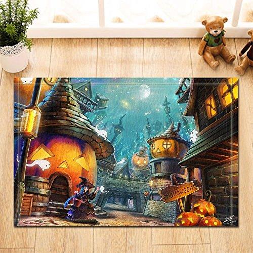 GoHeBe Holloween Decor Pumpkin Castle and Witch Ghost Bath Rugs Non-Slip Doormat Floor Entryways Indoor Front Door Mat Kids Bath Mat 15.7x23.6in Bathroom (Witch Bathroom Door Cover)