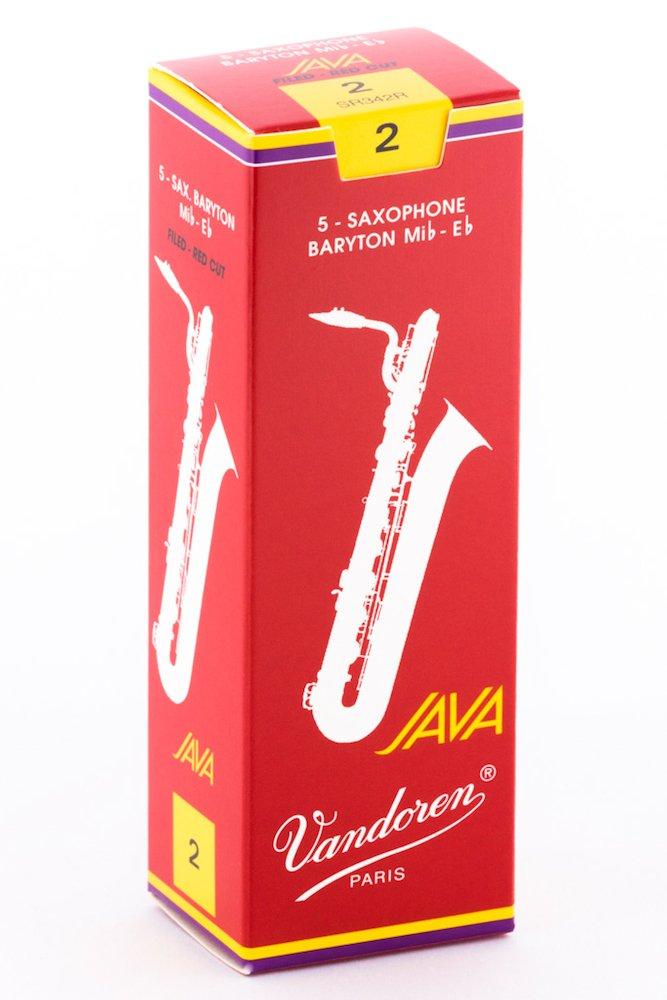 Vandoren Java Red Baritone Saxophone Reeds Strength 2, Box of 5