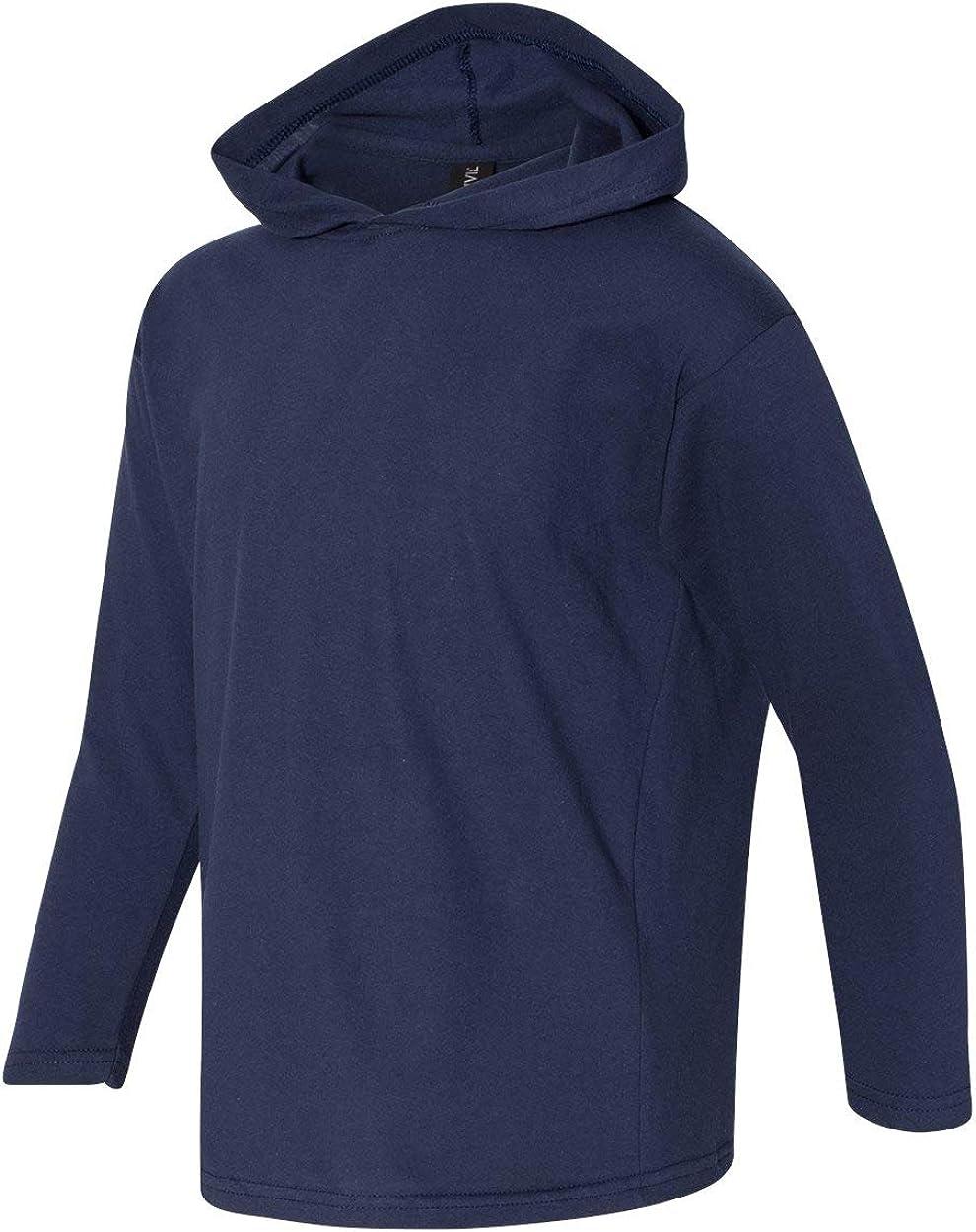 987B Anvil Youth Long-Sleeve Hooded/T-Shirt