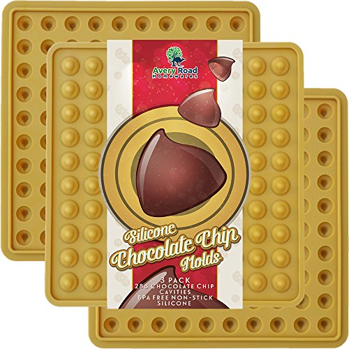 Chocolate Chip Mold Silicone 3 PACK ~ NEW FDA Approved LFGB Professional Grade Silicone Chocolate Chips Candy Molds - Make Non Dairy & Sugar Organic Chocolate Chips & Mini Gumdrop -