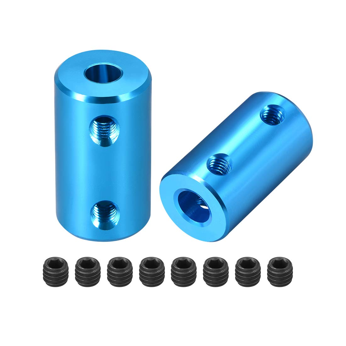 uxcell Shaft Coupling 5mm to 6mm Bore L25xD14 Robot Motor Wheel Rigid Coupler Connector Blue 2pcs