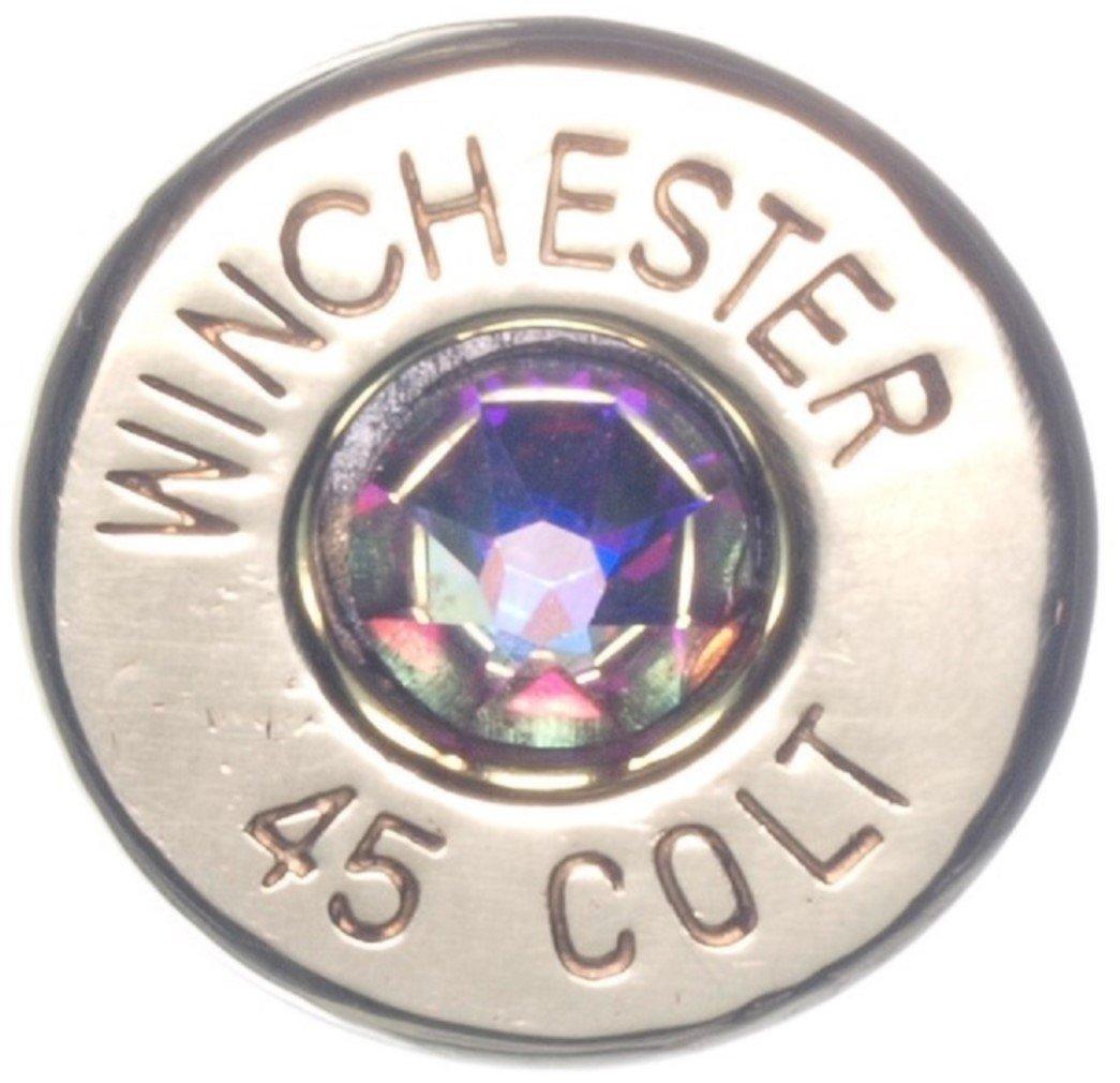 DobezDesignz 45 Colt Polished Brass Bullet Tie Pin with Clear Swarovski- Aurora Borealis (Winchester) by DobezDesignz