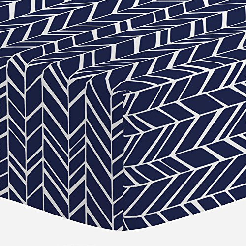 Carousel Designs Windsor Navy Herringbone Crib Sheet - Organic 100% Cotton Fitted Crib Sheet - Made in The USA