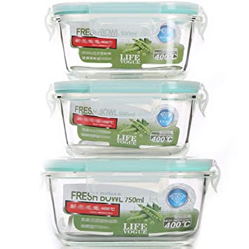 Contenedor para alimentos, caja de almacenamiento de cristal resistente al Calor, caja de comedor