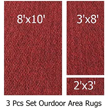 Amazon Com Indoor Outdoor Brick 3 Piece Set Patio Rug S