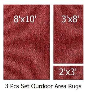 Amazon Com Indoor Outdoor Brick 3 Piece Set Patio Rug