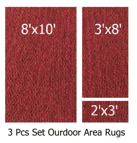 Indoor-Outdoor Brick Walkway, 3 Piece Set, Patio Rug's (8x10 Area Rug, 3x8 Runner, 2x3 Mat) (8 Piece Patio Set Cheap)