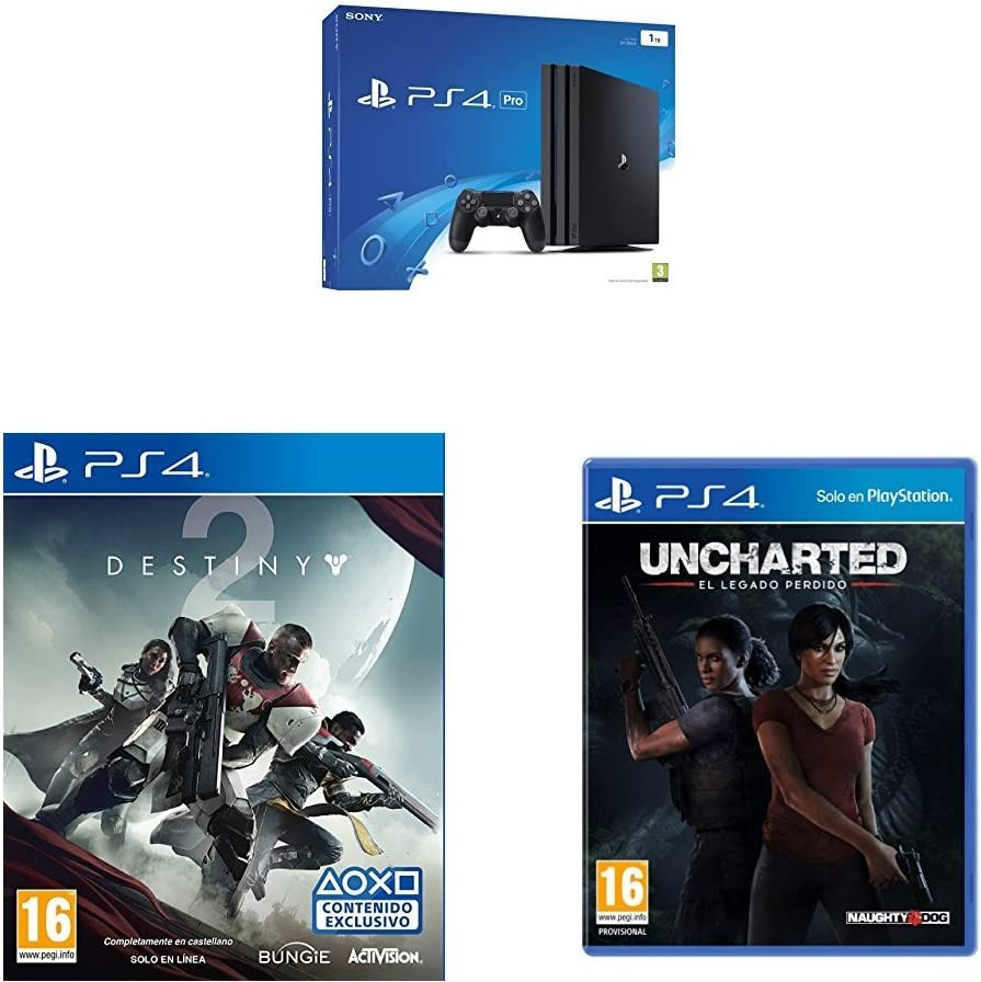 PlayStation 4 Pro (PS4) - Consola, Color Negro + Destiny 2 - Edición Estándar + Uncharted: El Legado Perdido: Amazon.es: Videojuegos