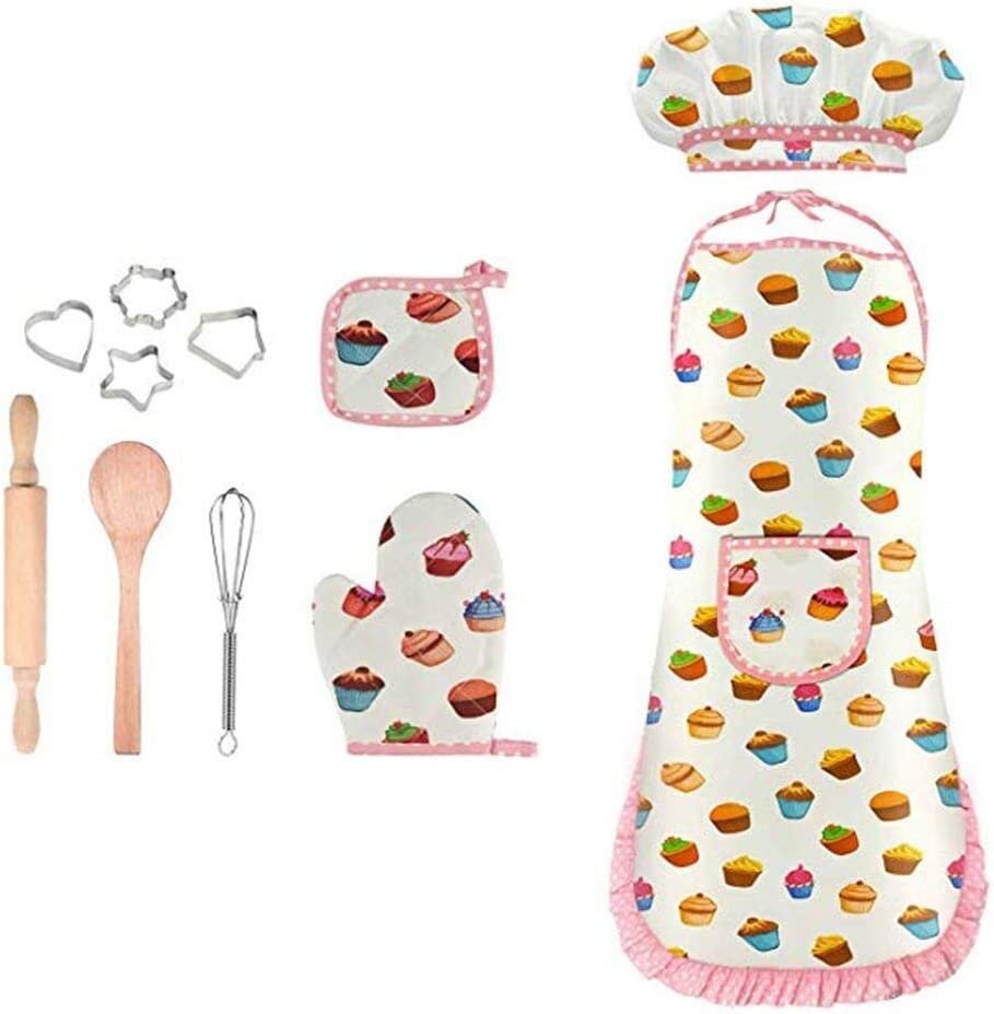Anyren Chef Costume Set for Kids, Cooking and Baking Game Play Set Includes Apron, Chef Hat, Oven Mitt, Rolling Pin, Spoon, Cookie Cutters & Baking Utensil