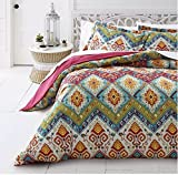 3 Piece Bohemian Moroccan Inspired Duvet Cover Set King Size, Featuring Reversible Colorful Geometric Medallion Diamond Design Bedding, Stylish Country Style Chic Bedroom Decor, Blue, Green, Multi
