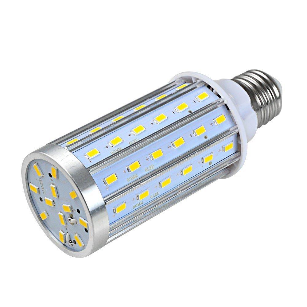 2x Lampada LED E2720W 72x 5730SMD LED (360Angolo, 800LM, AC 85–265V, 51x 131mm) con anelli alluminioe Tico asciugatrice [classe di efficienza energetica A] bianco caldo