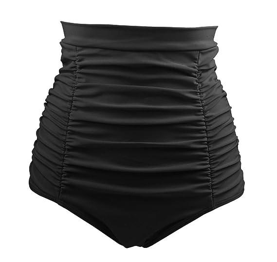 ba012c32c4 COCOSHIP Black Women's Retro Solids High Waisted Bikini Bottom Ruched Swim  Short Tankinis S(FBA