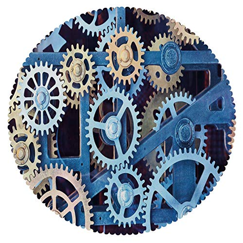 iPrint Round Tablecloth [ Clock Decor,A Set of Clock Gears Steel Cogwheels Pattern Mechanical Theme Design,Blue and Sand Brown ] Decorative Tablecloth Ideas