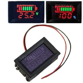 Tiyee - Tensiómetro digital LED de 12 V resistente al agua con plomo ácido/polímero de litio/fosfato de hierro de litio/NiMH: Amazon.es: Coche y moto