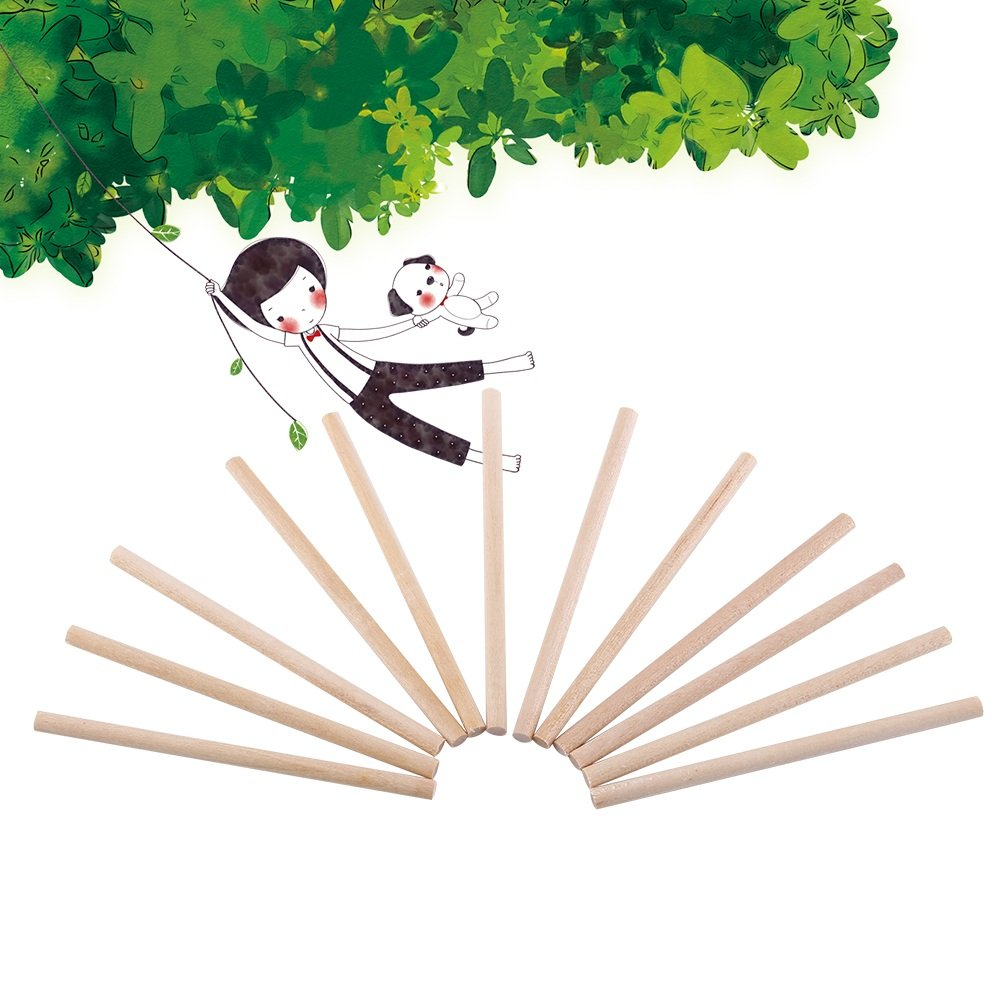 100 PCS 80mm Wooden Unfinished Round Dowel Rods For Crafts Woodworking And DIY Building Model