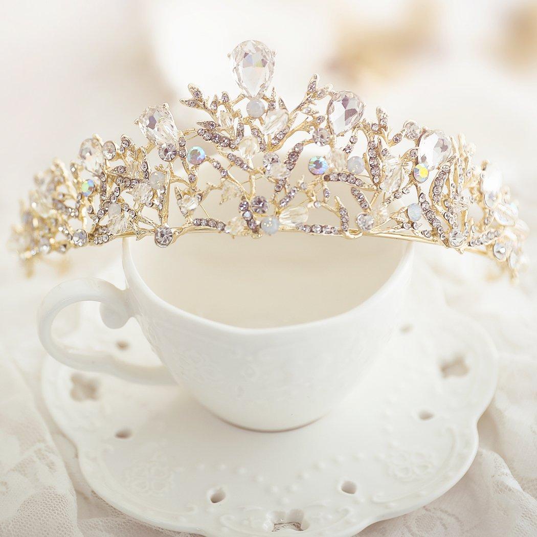 Amazon yean wedding crown and tiara bridal gold crown vintage yean wedding crown and tiara flower bridal princess queen gold crown vintage rhinestone headband for bride izmirmasajfo