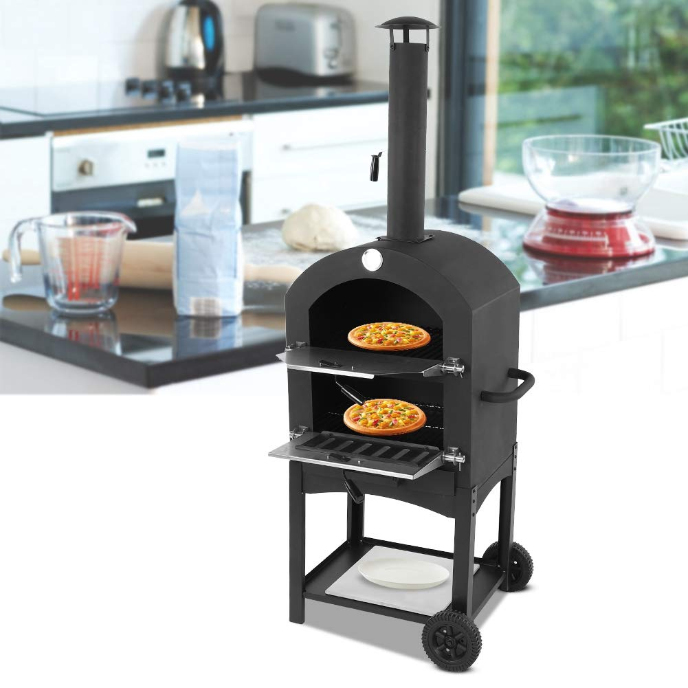 EBTOOLS 19.69x14.37x62.99inches Pizza Oven Wood Fire Durable Moveable Outdoor Pizza Bread Oven with Wheels for Garden, Lawn, Baking Cooking BBQ Tool by EBTOOLS