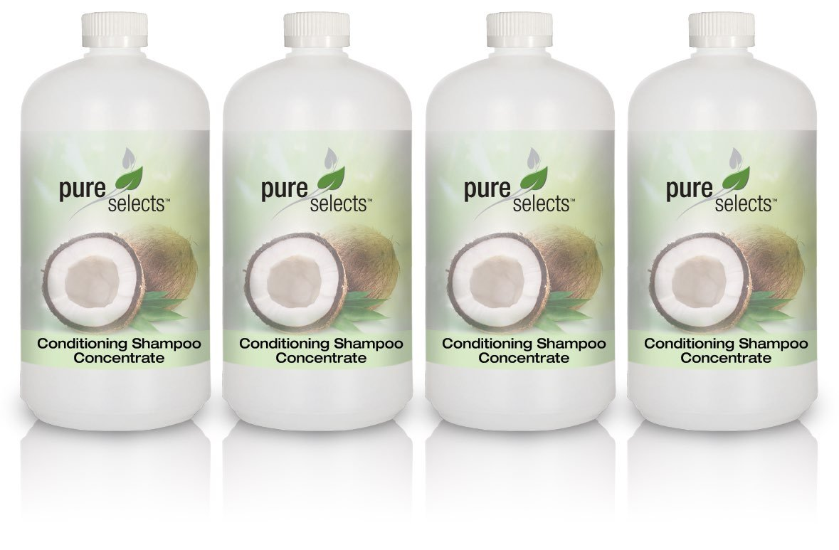 Pure Selects Conditioning Shampoo Concentrate • 4 Pack • Each Quart makes 1 Gallon of Luxurious Conditioning Shampoo • HYPOALLERGENIC • All Natural • NO ANIMAL TESTING • Sulfate Free