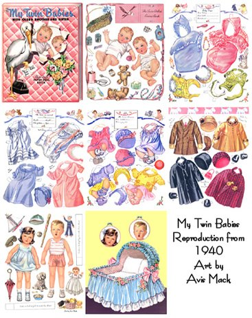 Download MY TWIN BABIES Restored/reprinted 1940 Paper Doll Book PDF