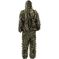Zicac -Ensemble Veste à Capuche et Pantalon Camouflage avec des Feuilles 3D Séchage Rapide pour Photographie Chasse Hunting