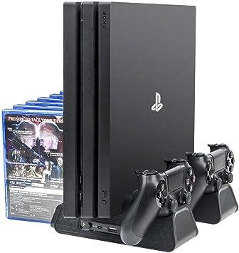 Playstation Soporte Vertical con Ventiladores de Refrigeración, Estación de Carga de Mandos Cargador y USB Hub, 12 Juegos Stand, DualShock 4 Controller Charger Station para PS4, PS4 Slim, PS4 Pro: Amazon.es: Electrónica