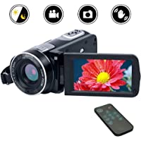 Videokamera Camcorder Full HD 1080p Digitalkamera 24.0MP 18facher Digitalzoom 3,0 Zoll LCD Bildschirm 270 °Drehbildschirm mit Fernbedienung