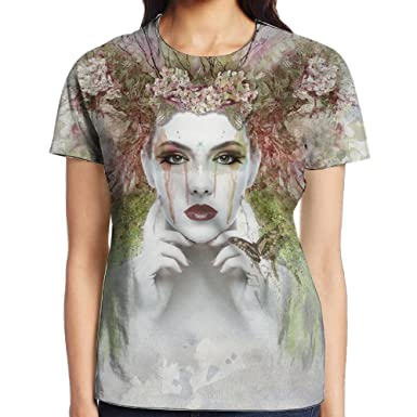 Image Unavailable. Image not available for. Color  Women s Short Sleeve  Terrible Face T-Shirt Cotton Tee Full ... 606d8fb658