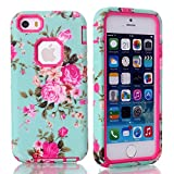 iPhone SE/5S Case, Firefish [Slim Fit] Soft Silicone and Hard PC Hybrid Cover [Shock Proof] Anti Scratch Protective Case for Apple iPhone 5/5S, iPhone SE - Rose Red