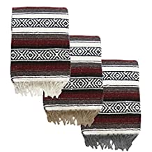 Yogavni Yogavni-Mex-Blanket-Burgundy Deluxe-Extra Thick and Soft Mexican Yoga Blanket in Traditional Stripes and Vibrant Colors, Burgundy