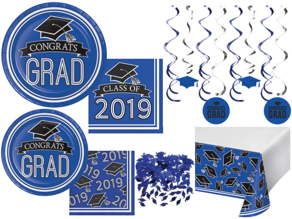 Class of 2019 Graduation School Spirit Colbalt Blue, Black & White Party Tableware & Decorations for 36 Guests by Party Creations (Image #1)